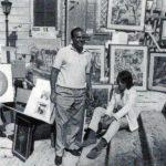 Michele Rosa con i suoi quadri a Trinità dei Monti, Roma - 1965