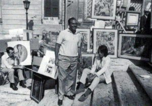 Michele Rosa con i suoi quadri a Trinità dei Monti, Roma - 1973