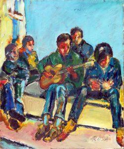 Giovani a Trinità ai Monti, 1966 - 50x60 cm (olio su tela)