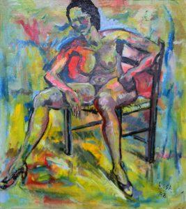 Nudo su sedia impagliata, 1988 - 120x135 cm