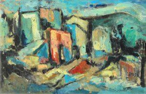 """Loro Ciuffenna: Case a la """"Trappola"""", 1964 - 90x60 cm(olio su tela)"""