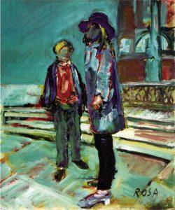 Sulla scalinata a Trinità dei Monti, 1967 - 50x60 cm (olio su tela)
