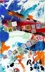 Tecniche miste con acrilico ed apposizioni di banconote su tela