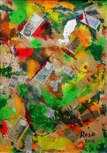 Acrilico con apposizioni di banconote su tela