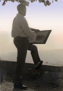 Michele ROSA ritrae un paesaggio - Maenza 1962