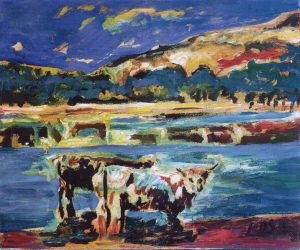 HigLand Cattle and Loch Lomond, 1981 - 60x50 cm