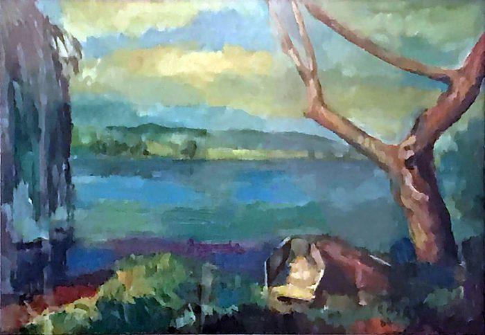 Scorcio sul lago di Posta Fibreno, 1984 - 100x70 cm