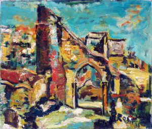 The castele ruins on west hill Hastings, 1981 - 59x60 cm
