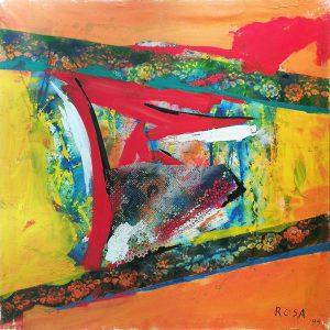 3) Astratto con apposizioni materiche_2, 1999 - 100 x 100 cm