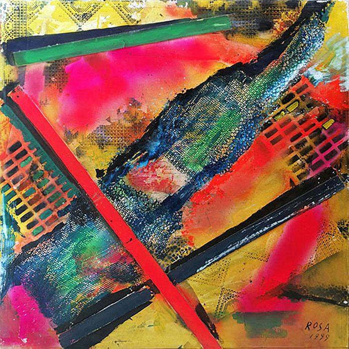 2) Astratto con apposizioni materiche_1, 1999 - 100 x 100 cm