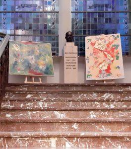 Alcune opere in mostra negli ambienti della sede comunale