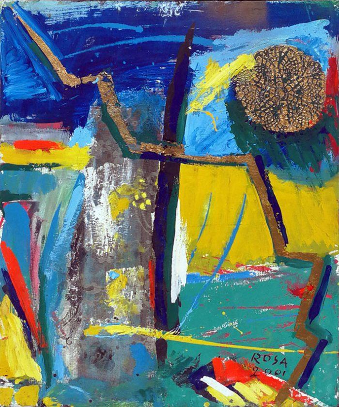 5) Astratto con apposizioni materiche_3, 2001 - 50 x 60 cm