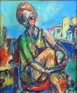 Donna seduta, - 49x59 cm